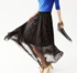 Dotted Pleated Flowy Long Skirt