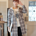 Checked and chic double breasted over coat jacket