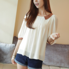 relaxed pleated quality chiffon dotted collar and cuff blouse