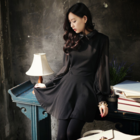 Elegant Classic black dress with chiffon sleeves and leather collar
