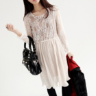 pleated dress with lace top