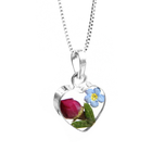 fresh flower jewellery with 925 pure silver pendant and chain