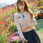 korean wool cardigan with long chain bag embroidery
