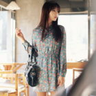 long sleeve Vintage inspired flowery tea dress with collar