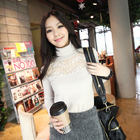turtle neck with lace front long sleeve shirt