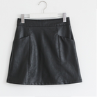Chic and trendy a line leather biker skirt