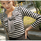 Sweet bow top with stripes pattern