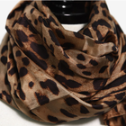 Pure silk long scarf with leopard print